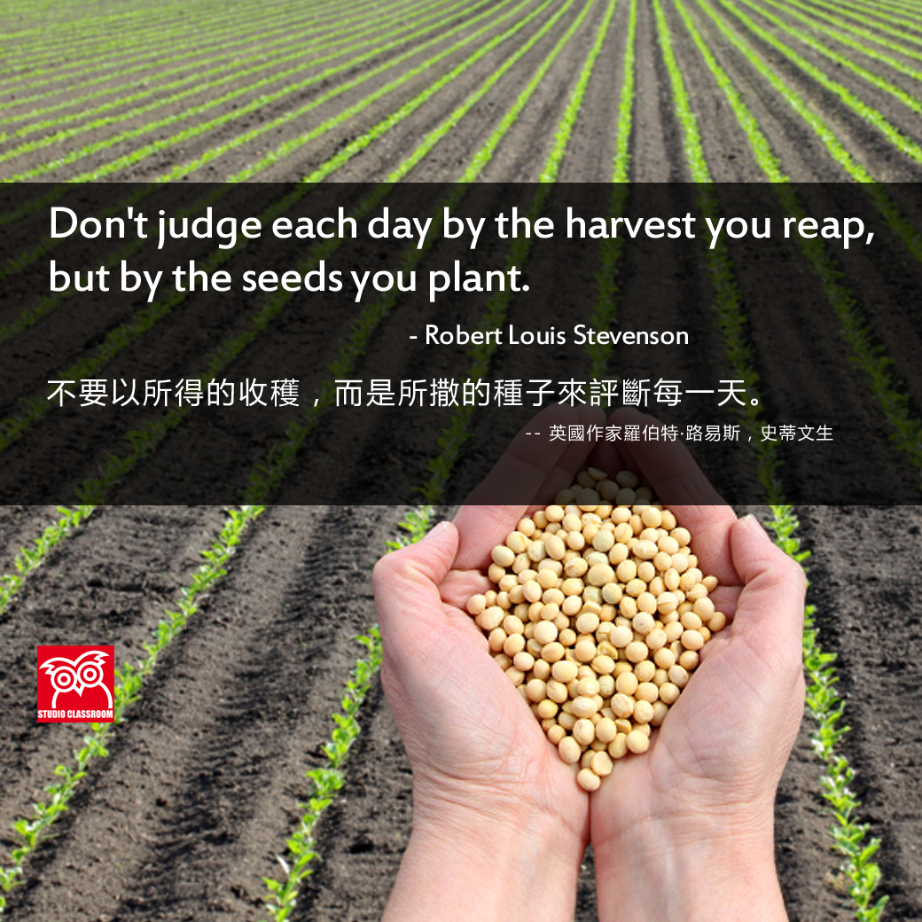Don't judge each day by the harvest you reap, but by the seeds you plant. - Robert Louis Stevenson