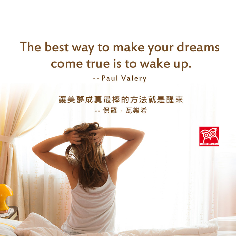 The best way to make your dreams come true is to wake up. --Paul Valery