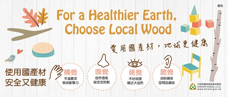 【Ads】Buying wood products of trees grown ____ Taiwan is more eco-friendly  than buying imported wood products.